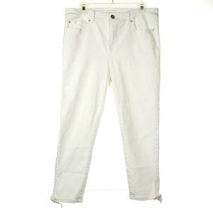 DENVER HAYES High Rise Crop Skinny White Bows